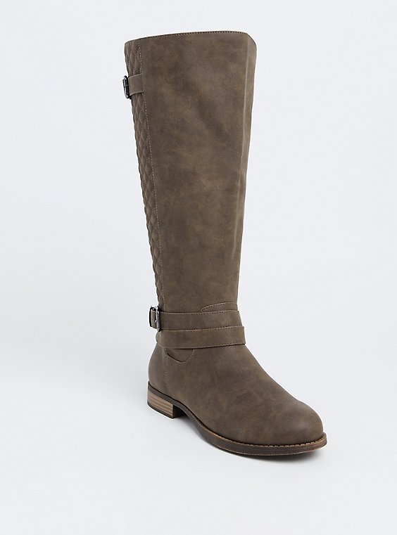 Plus Size Dark Taupe Quilted Buckle Knee-High Boot (WW), , hi-res