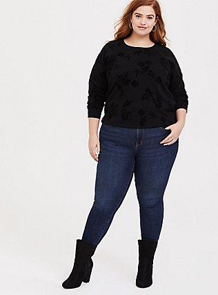 Black Terry Flocked Floral Sweatshirt, DEEP BLACK, alternate