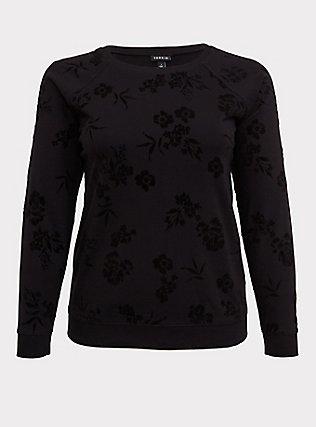 Black Terry Flocked Floral Sweatshirt, DEEP BLACK, flat