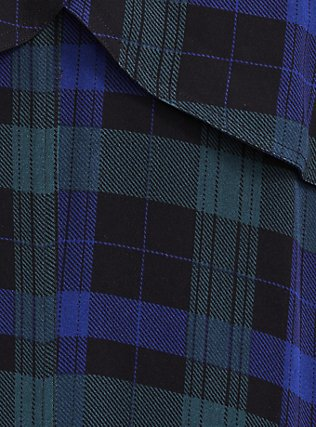 Blue & Green Plaid Twill Fit & Flare Trench Coat, PLAID, alternate