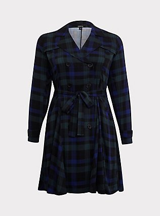 Blue & Green Plaid Twill Fit & Flare Trench Coat, PLAID, flat