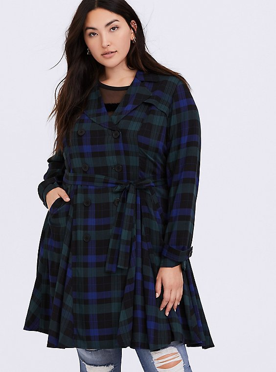 Plus Size Blue & Green Plaid Twill Fit & Flare Trench Coat, , hi-res
