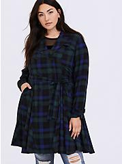 Blue & Green Plaid Twill Fit & Flare Trench Coat, PLAID, hi-res