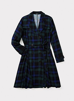 Blue & Green Plaid Twill Fit & Flare Trench Coat, PLAID, pdped