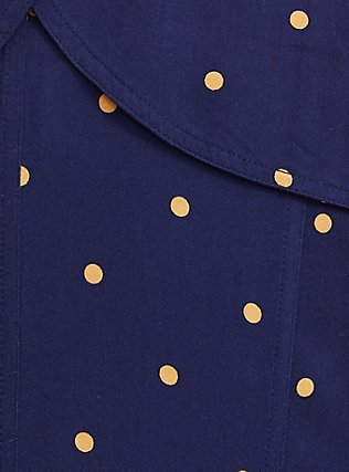 Navy Polka Dot Twill Fit & Flare Trench Coat, DOT STRIPE-NAVY, alternate