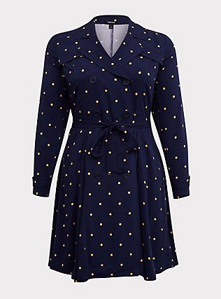 Navy Polka Dot Twill Fit & Flare Trench Coat, DOT STRIPE-NAVY, flat