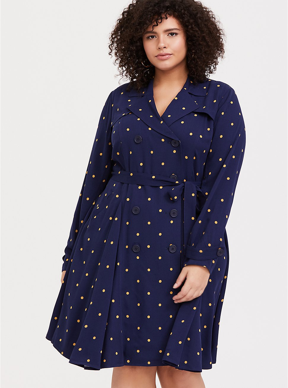 Navy Polka Dot Twill Fit & Flare Trench Coat, DOT STRIPE-NAVY, hi-res