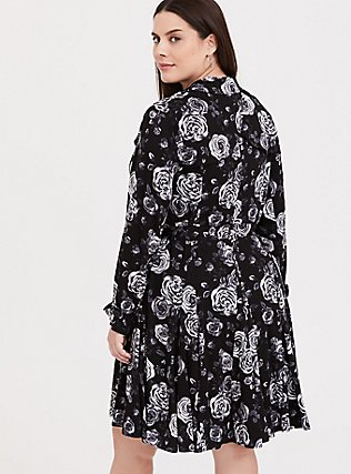 Black Floral Twill Fit & Flare Trench Coat, Old Hollywood Floral Black, alternate