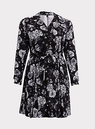 Black Floral Twill Fit & Flare Trench Coat, Old Hollywood Floral Black, flat