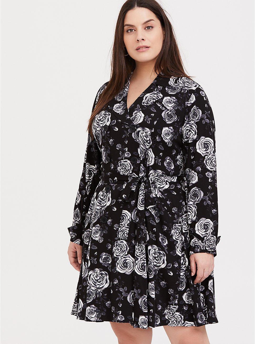 Black Floral Twill Fit & Flare Trench Coat, Old Hollywood Floral Black, hi-res
