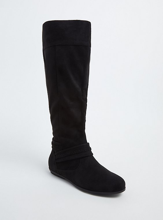Black Faux Suede Braided Knee-High Boot (Wide Width), , hi-res