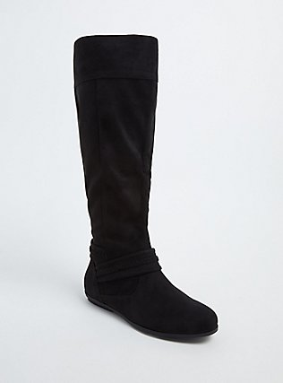 Black Faux Suede Braided Knee-High Boot (Wide Width), BLACK, hi-res