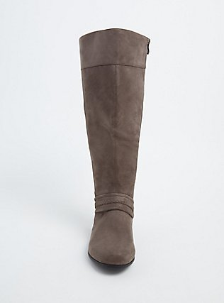 Taupe Faux Suede Braided Knee-High Boot (WW), GREY, alternate