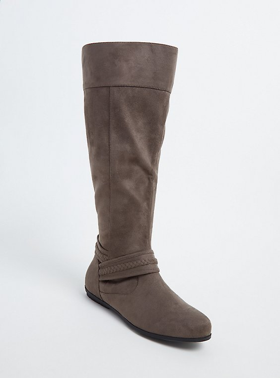 Taupe Faux Suede Braided Knee-High Boot (Wide Width), , hi-res