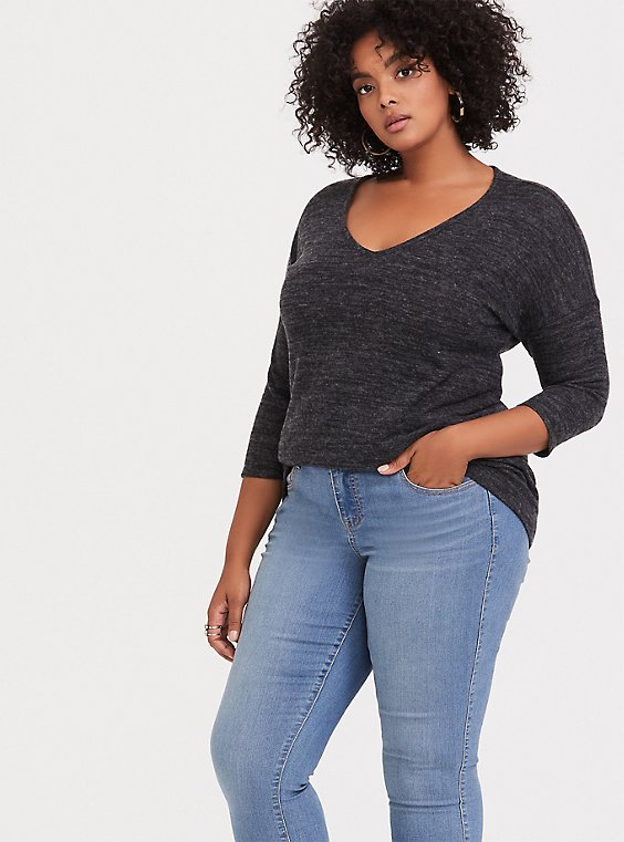 Plus Size Super Soft Plush Dark Grey Long Sleeve Tee, , hi-res