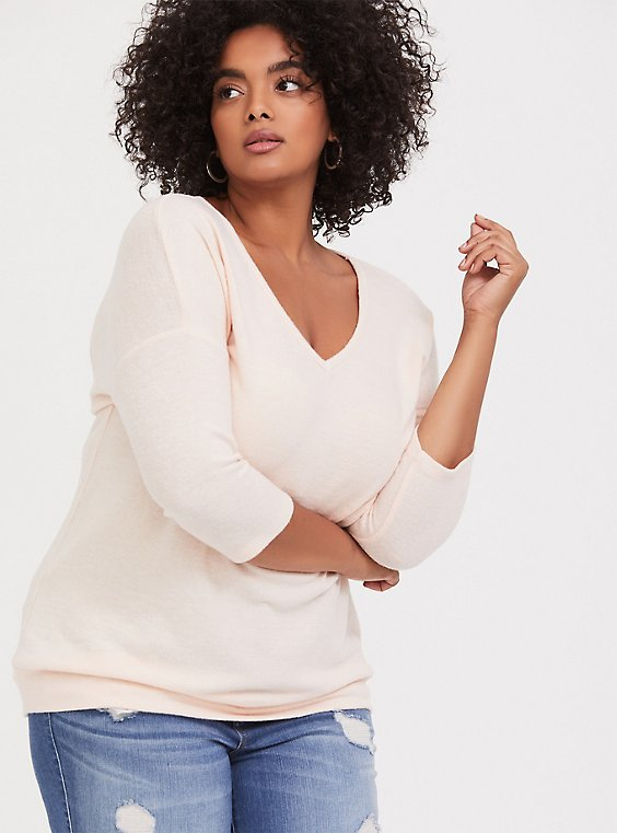 Super Soft Plush Light Pink Dolman Long Sleeve Top, , hi-res