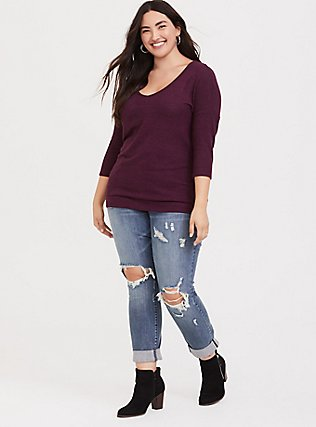 Plus Size Burgundy Purple Brushed Hacci Dolman Pullover Sweater Top, HIGHLAND THISTLE, alternate