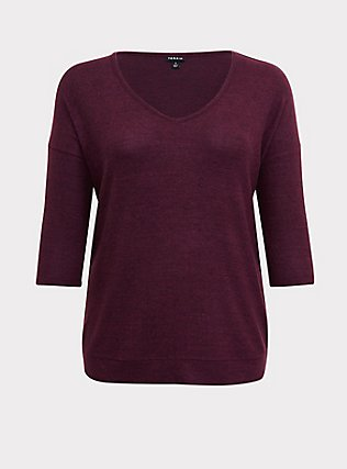 Plus Size Burgundy Purple Brushed Hacci Dolman Pullover Sweater Top, HIGHLAND THISTLE, flat