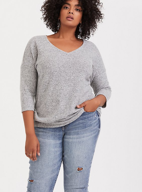 Super Soft Plush Light Grey Drop Shoulder Tee, , hi-res