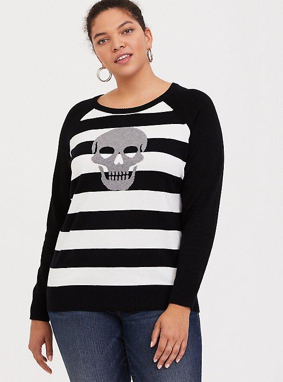 Black & White Stripe Skull Print Pullover Sweater, , hi-res