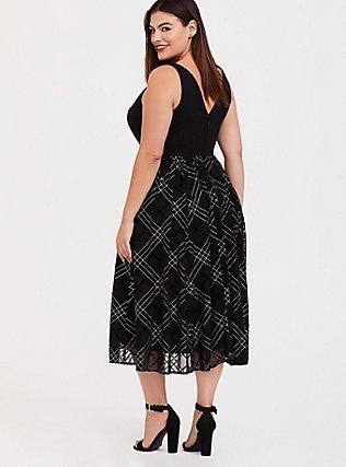 Black Ponte & Mesh Plaid Midi Dress, PLAID - BLACK, alternate