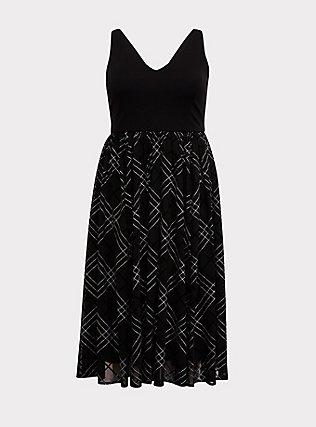 Black Ponte & Mesh Plaid Midi Dress, PLAID - BLACK, flat