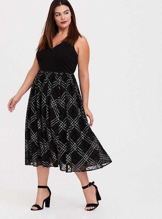 Black Ponte & Mesh Plaid Midi Dress, , hi-res