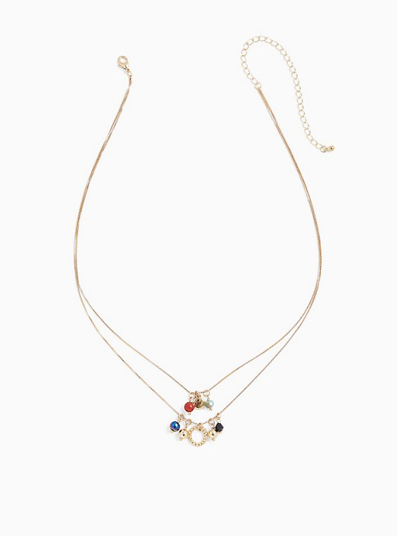Gold-Tone Multi Stone Layered Necklace, , hi-res