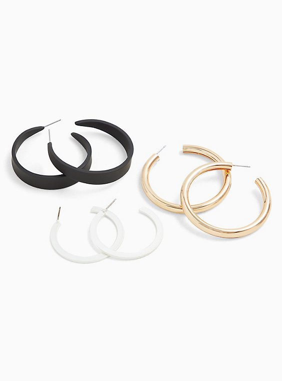 Mixed Hoop Earrings Set - Set of 3, , hi-res