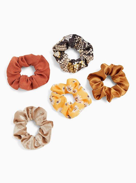 Plus Size Floral & Snakeskin Print Hair Tie Pack - Pack of 5, , hi-res