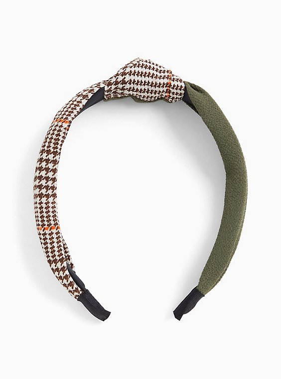 Olive Green & Brown Plaid Top Knot Headband, , hi-res