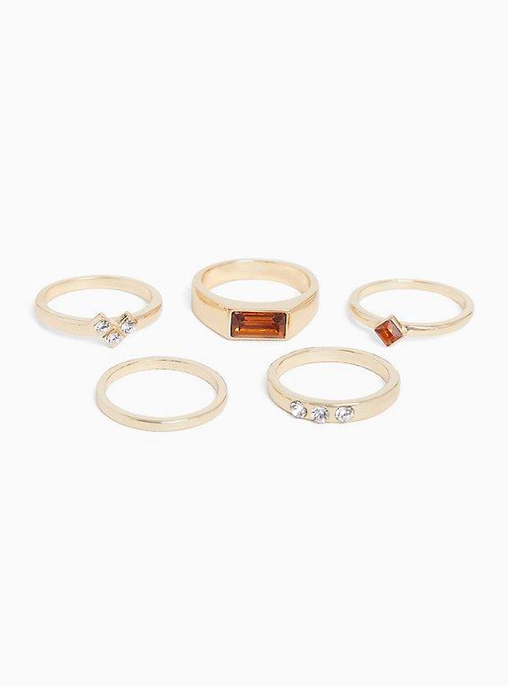 Gold-Tone Brushed Metal Rhinestone & Faux Stone Ring Set - Set of 5, , hi-res