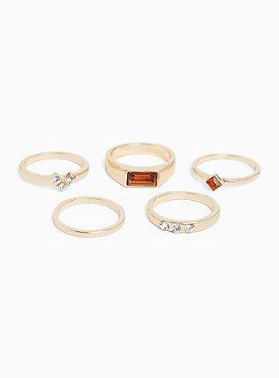 Gold-Tone Brushed Metal Rhinestone & Faux Stone Ring Set - Set of 5, GOLD, hi-res