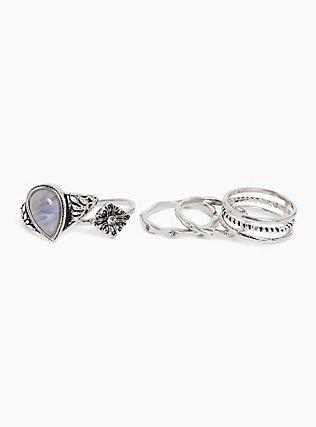 Silver-Tone Teardrop Faux Stone Ring Set - Set of 5, SILVER, alternate