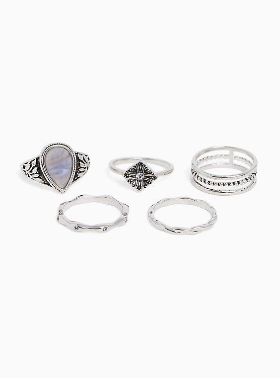 Silver-Tone Teardrop Stone Ring Set - Set of 5, , hi-res