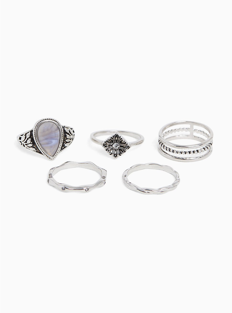 Silver-Tone Teardrop Faux Stone Ring Set - Set of 5, , hi-res