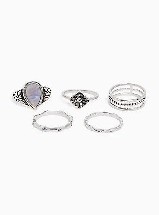 Silver-Tone Teardrop Stone Ring Set - Set of 5, SILVER, hi-res
