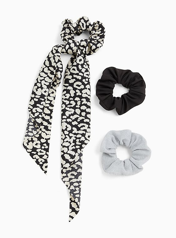 Black & White Scarf Hair Tie Pack - Pack of 3, , hi-res