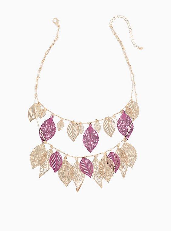 Burgundy & Gold-Tone Filigree Leaf Layered Necklace, , hi-res