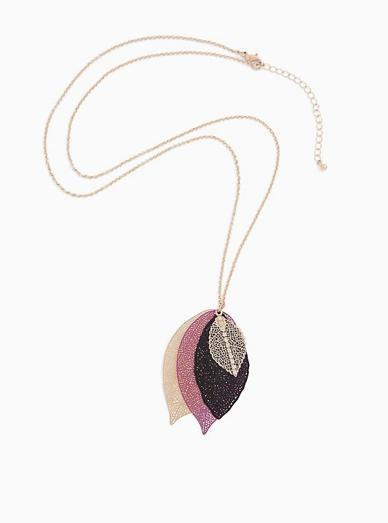 Gold-Tone & Purple Multi-Leaf Pendant Necklace, , hi-res