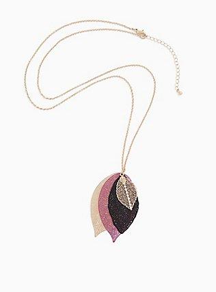 Gold-Tone & Purple Multi-Leaf Pendant Necklace, , hi-res