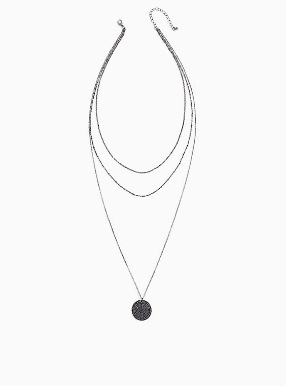 Silver-Tone & Black Pavé Pendant Layered Necklace, , hi-res