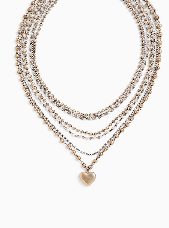 Gold-Tone Beaded Heart Pendant Layered Necklace, , hi-res