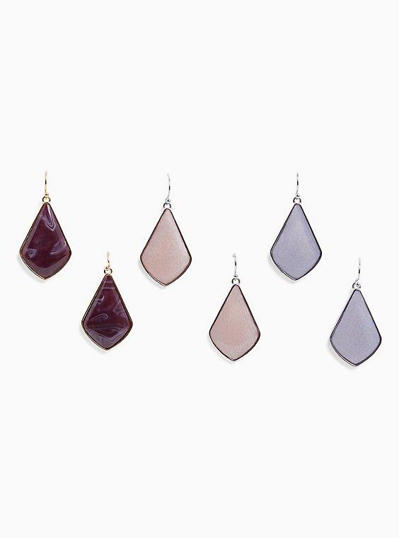 Gold-Tone Faux Stone Dangle Earrings Set - Set of 3, , hi-res