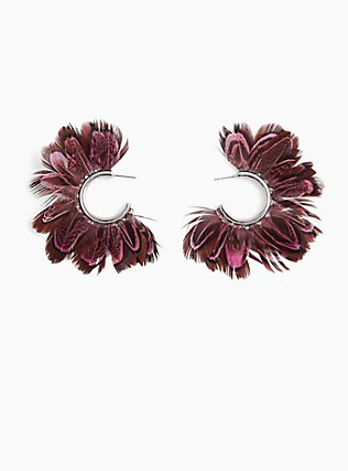 Silver-Tone & Burgundy Purple Feather Hoops, , hi-res