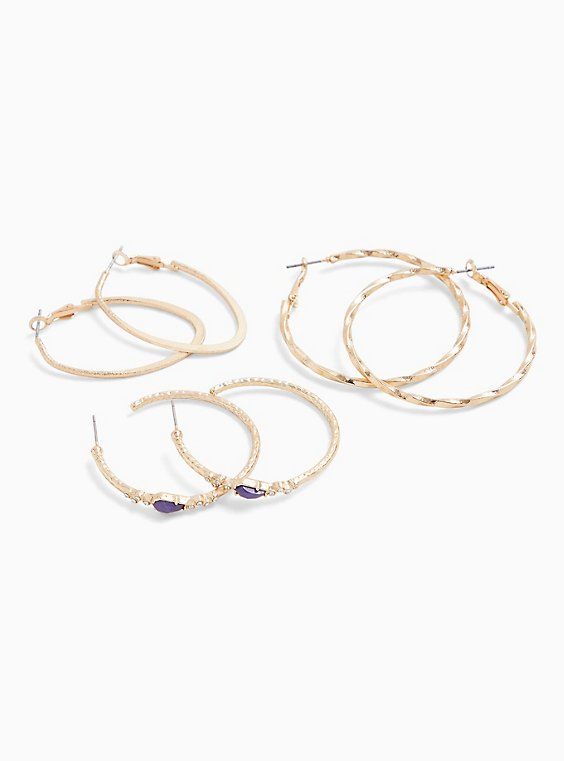 Gold-Tone Textured Hoop Earrings Set - Set of 3, , hi-res