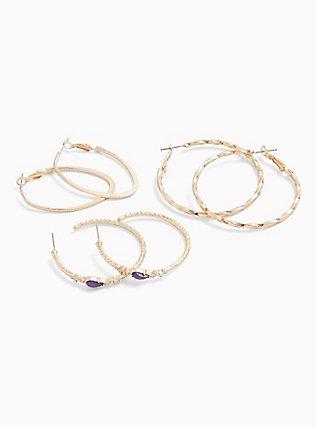 Gold-Tone Textured Hoop Earrings Set - Set of 3, , hi-res