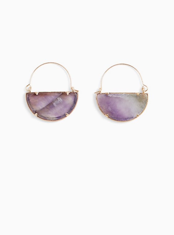 Gold-Tone & Purple Crescent Dangle Earrings, , hi-res
