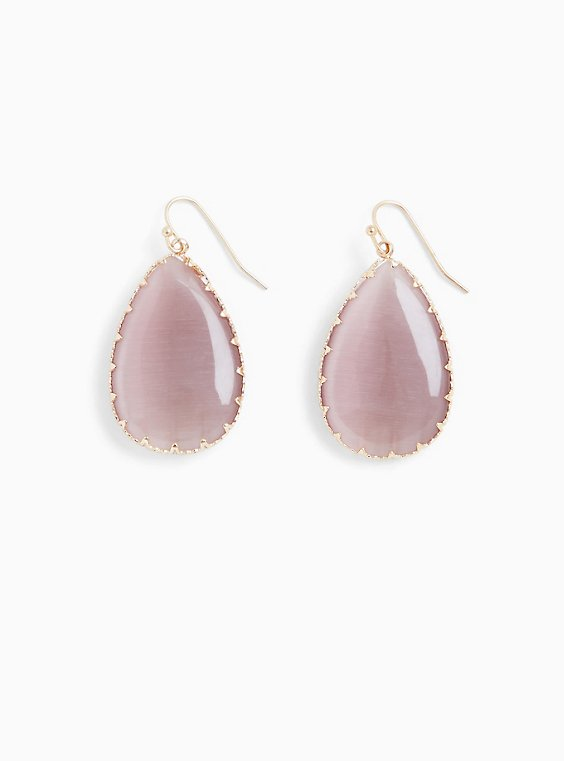 Mauve Purple Faux Stone Teardrop Earrings, , hi-res