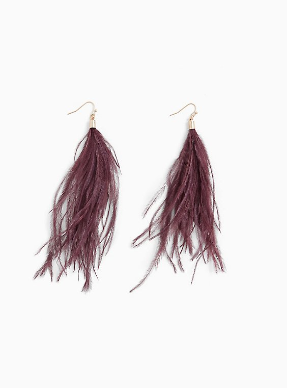 Burgundy Purple Feather Statement Earrings, , hi-res